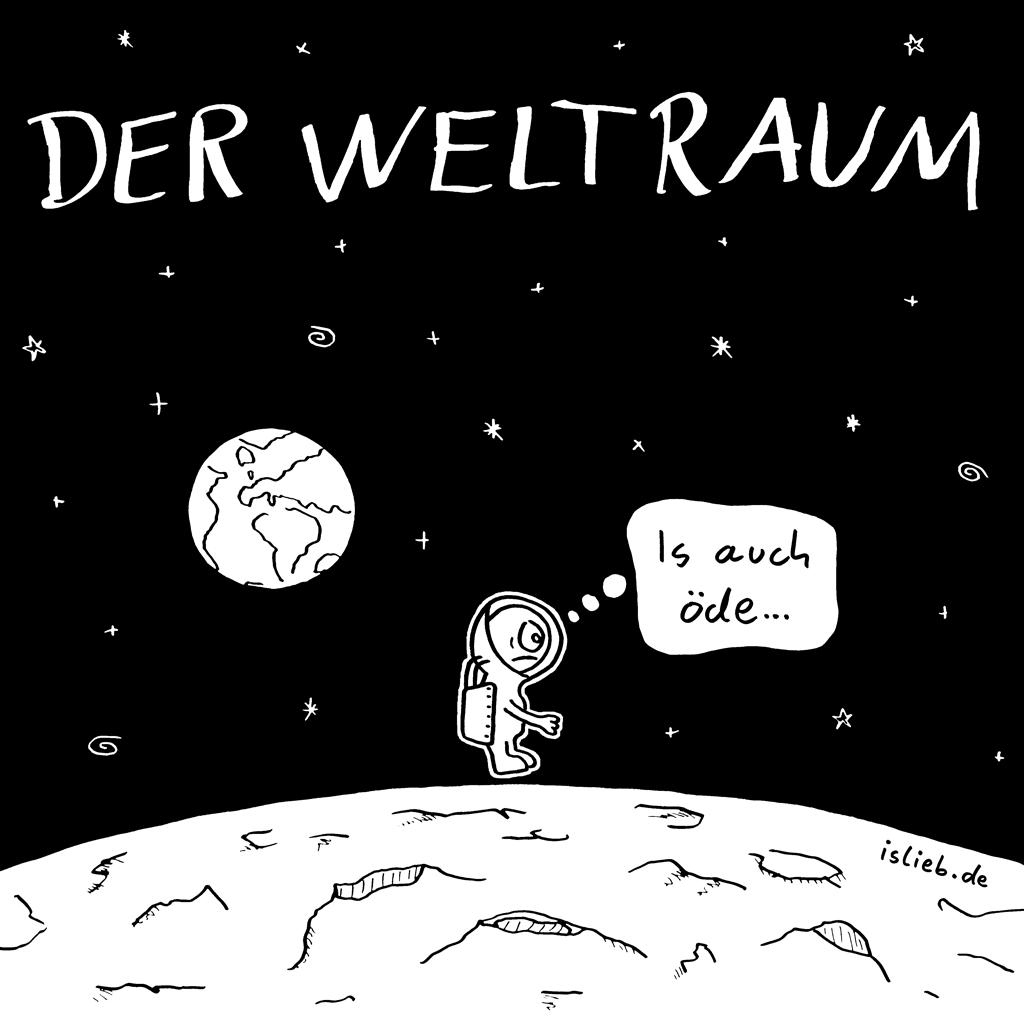 Der Weltraum | islieb-Comic | Der Weltraum... is auch öde. | Universum, Weltall, Astronaut, Raumfahrt