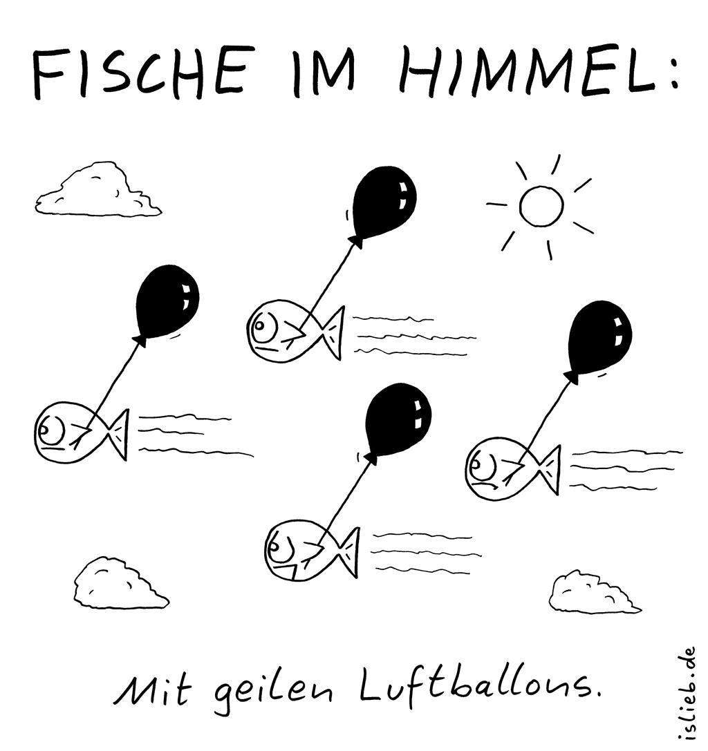 Himmelsfische | islieb-Comic | Fische im Himmel. Mit geilen Luftballons.