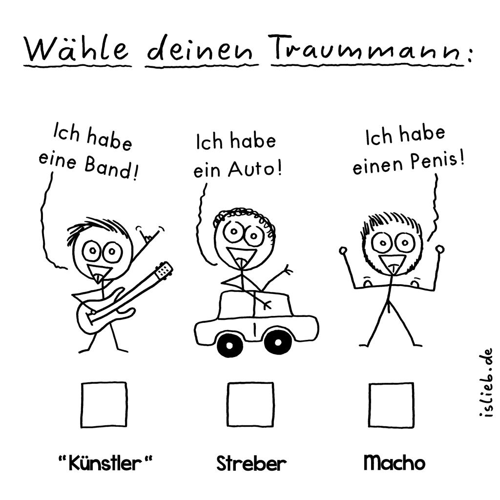 Wähle deinen Traummann | islieb-Comic | Ich habe eine Band. Ich habe ein Auto. Ich habe einen Penis. Musiker, Streber, Macho.